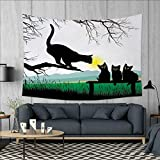 Anniutwo Cat Art Wall Decor Mother Cat on Tree Branch and Baby Kittens in Park Best Friends I Love My Kitty Graphic Tapestry Wall Tapestry W60 x L51 (inch) Multi
