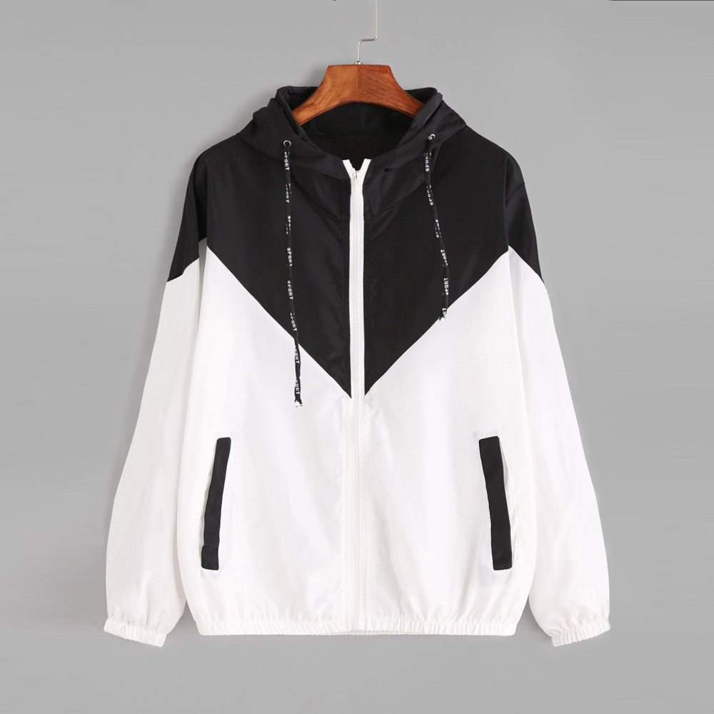 Womens Color Block Drawstring Long Sleeve Hooded Zip Up Sports Jacket Windproof Windbreaker