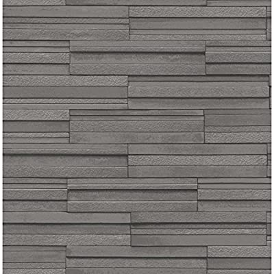 Fine Decor Ceramica Slate Tile Washable Wallpaper Charcoal