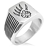 Two-Tone Stainless Steel Ferocious Bear Claw Engraved Needle Stripe Pattern Biker Style Polished Ring, Size 10