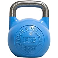 Xenios USA Staal Russische Girevoy kettlebell voor volwassenen, 12 kg, blauw, kettlebell