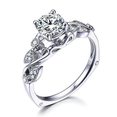 Moissanite Engagement Ring 6mm Round Floral Diamond 14K White Gold Promise Ring Unique Gift for Women by Milejewel CZ engagement rings