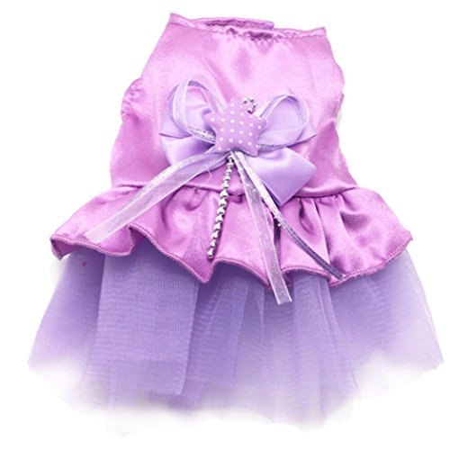 Beautyvan, New Dog Cat Bow Tutu Dress Lace Skirt Pet Puppy Dog Clothes Costume (XS, Purple)