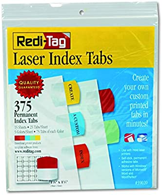 image regarding Printable Colors titled Redi-Tag Laser Printable Index Tabs, Everlasting Adhesive, 1-1/8 x 1-1/4 Inches, Vast majority Packed, 375 Tabs For each Pack, Varied Shades (39020)