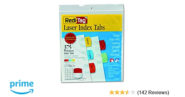 graphic regarding Printable Index Tabs called Redi-Tag Laser Printable Index Tabs, Long lasting Adhesive, 1-1/8 x 1-1/4 Inches, Majority Packed, 375 Tabs For every Pack, Varied Shades (39020)