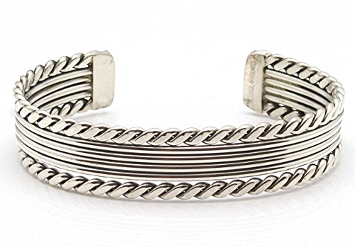 Silver Cuff By Navajo Artist Elaine Tahe (5.25'' tip to tip x 1/2'' wide) by L7 Enterprises (Image #1)