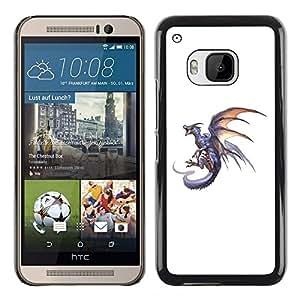 iBinBang / Funda Carcasa Cover Skin Case - Dragon Grey Fire Flying Wild Mythical Animal - HTC One M9