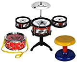 HALO NATION Ultimate Jazz Drum Set musical Instrument with 5 Tom-Tom's, Base Drum and a stool for kids