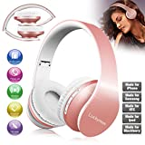 Over Ear Headphones, Foldable Wireless Headphones Stereo Hi-Fi Bluetooth Headsets with Mic and Soft Earmuffs for Girl Women Gym Sport Wired Mode for Cell Phone TV Computer Laptop iPhone Rose Gold