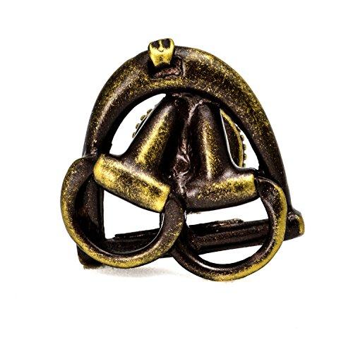 8013-3 Americana Antique Brass Bits In Stirrup Knob Left (Brass Stirrup)