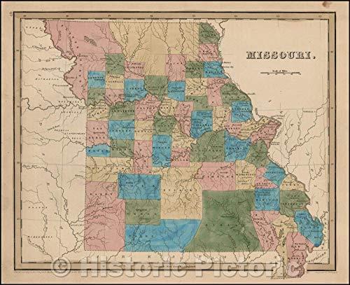 Historic Map | Missouri, 1841, Thomas Gamaliel Bradford | Vintage Wall Art 44in x ()