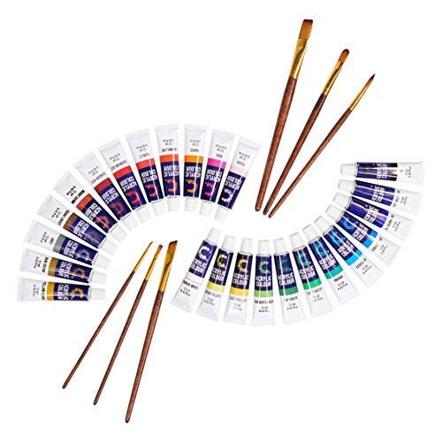 Acrylic Paint Set & Brushes with Rich Pigments in 24 Vivid Colors with 6 Pro Brushes is Great for Intermediate, Advanced and Hobby Painters from Kids Through Adults by Creative Joy (24 Paints) by Creative Joy (Image #1)