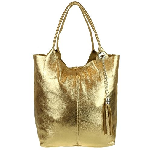 Craze Suede Gold New London Vera Real Pelle Italian Handbags Shoulder Open Womens Bag Leather Top Leather Old Genuine wRpvxwrq