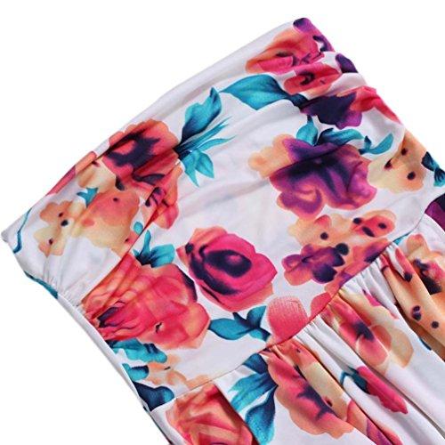 Rcool Mujeres Imprimen El Manga Larga Boho Vestido De Partido Retro Floral Del Partido Del V-Cuello Del Palacio Beach Vestido Multicolor A