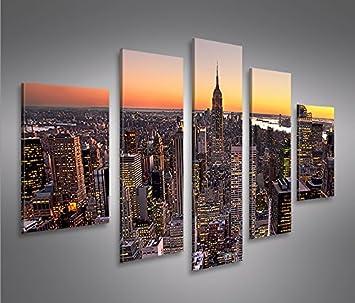 Amazon.de: islandburner MF 5 Bilder auf Leinwand, New York, fertig ...