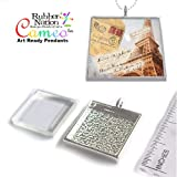 Cameo Photo Jewelry Altered Art Pendant Kit Silver Plated with Glass Insert SM Square 25mm 1""