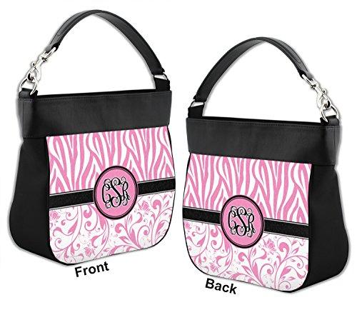 Zebra amp; Personalized Purse Genuine Trim Front Back Leather amp; Hobo w Floral aWPrpna