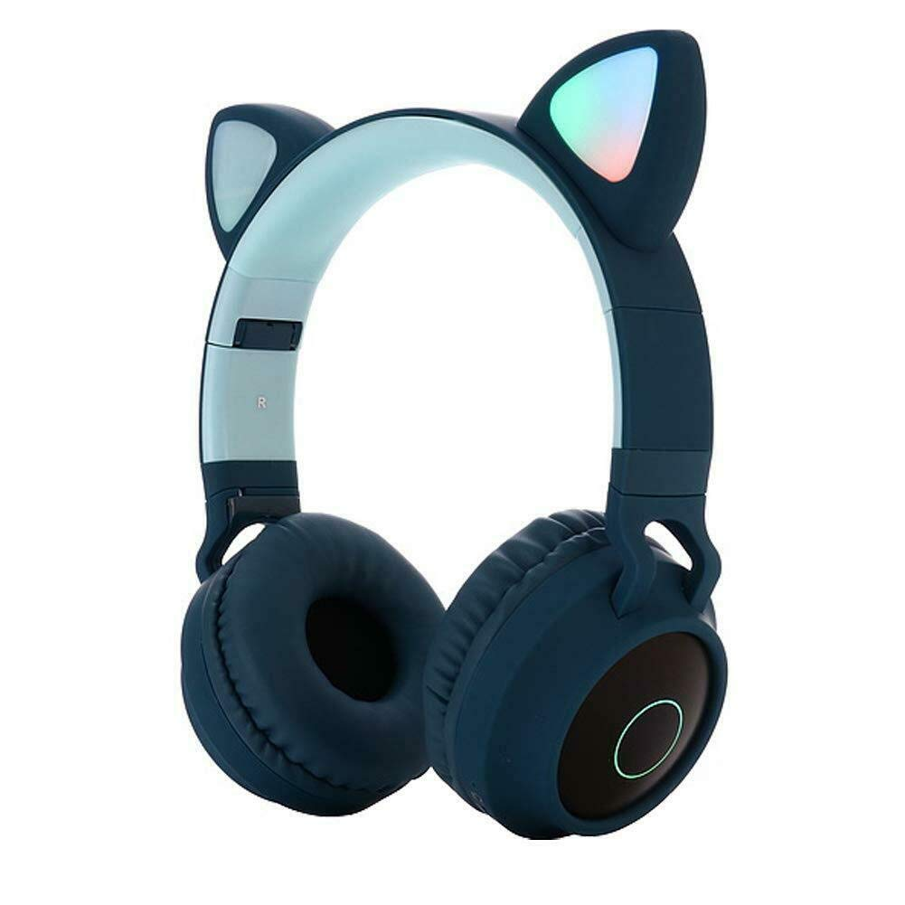 ZHUOHONG Bluetooth Headphones - Cat Ear LED Light Up Wireless Foldable Headphones Over Ear with Microphone and Volume Control