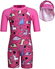 Girl Unicorn Rash Guard Swimsuit UPF 50+ UV Sun Protection Short Sleeve One Piece Swimwear with Swim Hat Set
