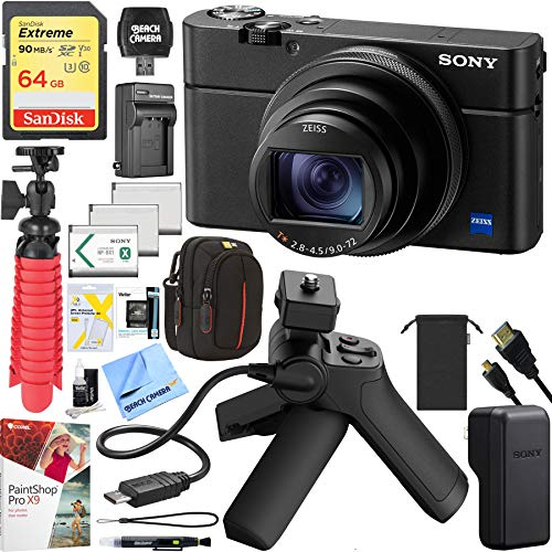 Sony RX100 VI Cyber-Shot Digital Camera 20.1 MP with 24-200mm Zoom Bundle with Shooting Grip and Tripod, 64GB Memory Card, Paintshop Pro, Case, Battery, Cleaning Pen Tripod and Accessories (9 Items) (Best Memory Card For Sony Rx100)