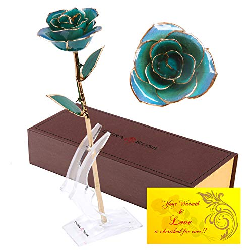 DuraRose Authentic Rose with Long Stem Dipped in 24k Gold, with Stand and Love Card - Best Gift for Loves Ones. Ideal for Valentine's Day, Mother's Day, Anniversary, Birthday -