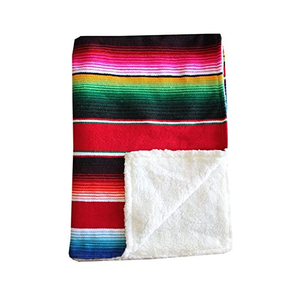 Del Mex Baja Baby Mexican Serape Baby Toddler Blanket paired with Soft Sherpa (Red)