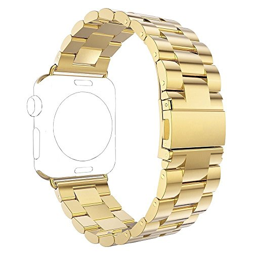 Apple Watch Band,USASUNFACE 38mm Extreme Thin&Light Premium Stainless Steel Strap Wrist Band Strap Bracelet with Butterfly Clasp for Apple Watch Series 1, Series 2(Gold) by USASUNFACE