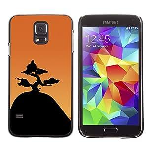 LECELL--Funda protectora / Cubierta / Piel For Samsung Galaxy S5 -- Montaña Bonsai --