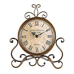 JUSTUP Vintage Table Clock, Iron European Style Desk Clock Battery Operated Non-Ticking Mantle Clock for Home Decor (Bronze)