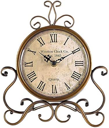 JUSTUP Vintage Table Clock, Iron European Style Desk Clock Battery Operated Non-Ticking Mantle Clock for Home Decor Bronze