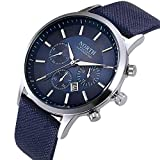 NOMSOCR Men Metal Casual Round Dial Quartz Analog Wrist Watch with Leather Band (Blue)