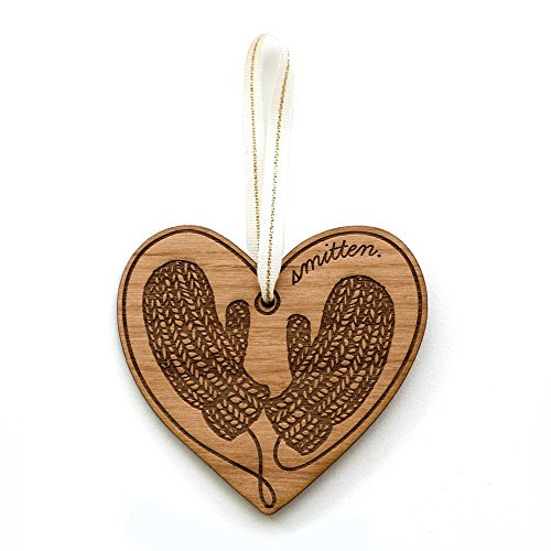 Smitten Mittens Laser Cut Wood Ornament (Christmas / Holiday / Anniversary / Newlyweds / Keepsake / Our First Christmas)