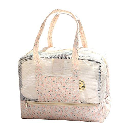 Fletion Multifunción bolsa de la compra impermeable bolso de viaje de playa, bolsa de natación plegable para camping playa viajes elegante,Pentagram azul oscuro Rosa 1
