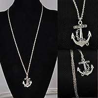 phitak shop Vintage Retro Womens Mens Jewelry Silver Anchor Alloy Chain Pendant Necklace