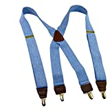 HoldUp Suspender company Light Blue Denim 1 1/2'' X-back Suspenders with Patented No-slip Gold-tone Clips