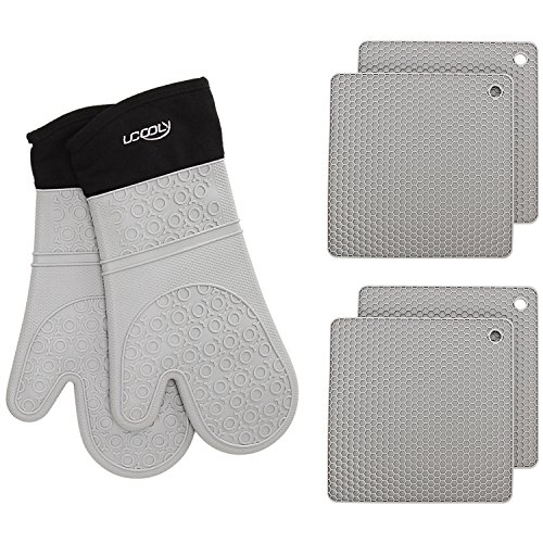 ucooly Silicone Oven Mitts with Potholders Trivet(6-Piece Sets),14.7 inch Extra Length Non-Slip Heat Resistant Oven Gloves with Cotton Lining for Cooking, Baking, Grilling, Holding Pot Grey by -
