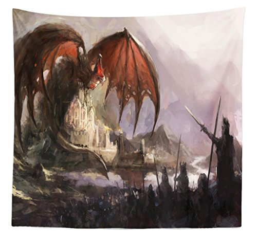 Lunarable Dragon Tapestry Queen Size, Medieval Fantasy Dragon Dark Knights Scene Fortress Castle Mystical, Wall Hanging Bedspread Bed Cover Wall Decor, 88 W X 88 L Inches, Grey Rustic Red