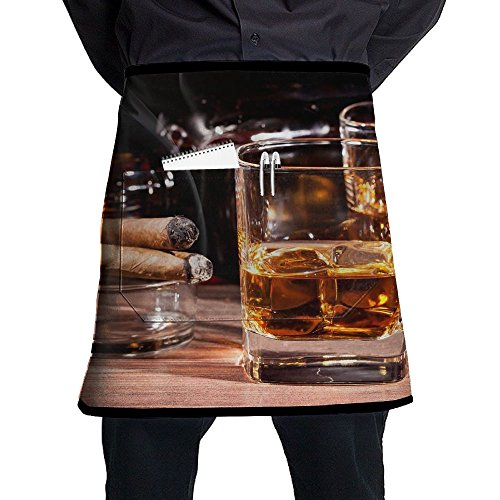 Jaylon Waist Short Apron Half Chef Apron Whiskey Cigars Alcohol Cooking Apron with Pockets Home Kitchen Cooking Pinafore (Best Alcohol With Cigars)