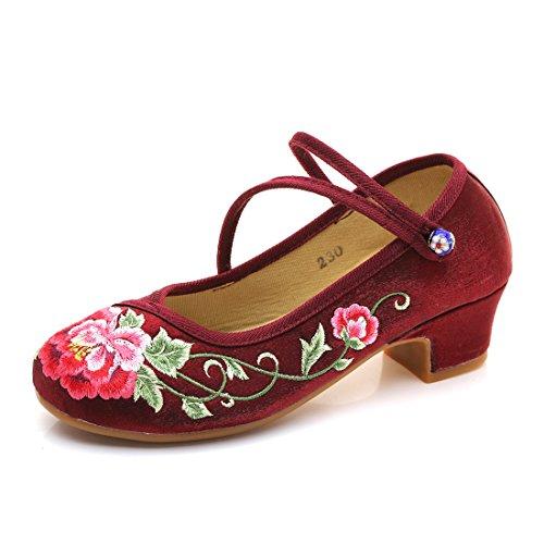 Yy.f Yyf Fille Femme Chaussure A Talon Fleur Broderie Chinoise Confortable Porter Elegante Pour Ete Printemps Automne Wine