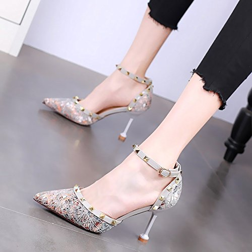 estiva delle gray tacchi i sexy Moda stiletto sandali ha donne alti YMFIE sottolineato xRwF50qWf