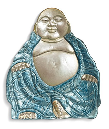 - Grasslands Road Buddha Glass Platter, 15-Inch, Blue