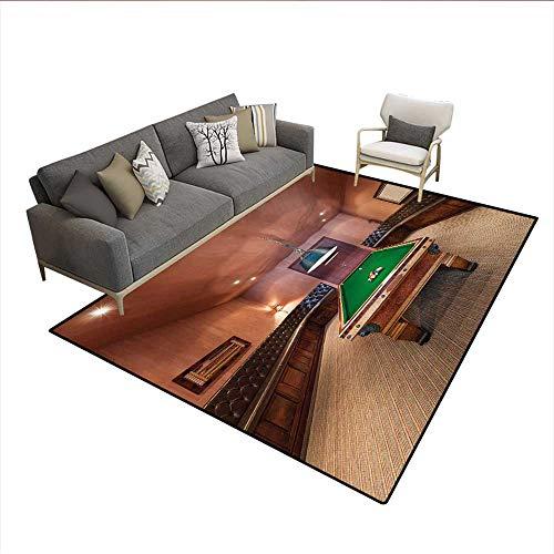 Floor Mat,Entertainment Room in Mansion Pool Table Billiard Lifestyle Photo Print,3D Printing Area Rug,Cinnamon Brown GreenSize:6
