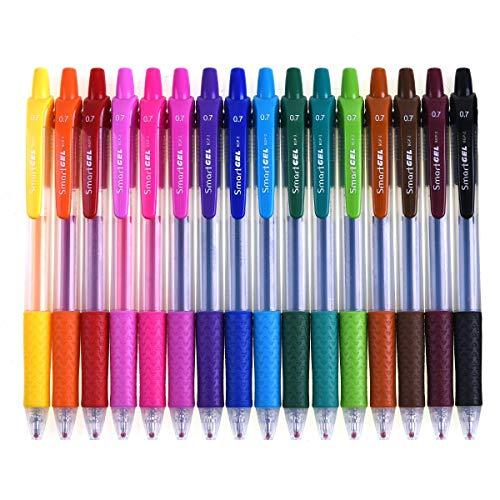 Retractable Gel Pens, Smart Color Art 16 Colors Medium Point Gel Ink...