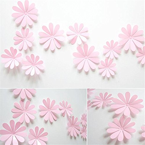 Multicolor12 PCS/Lot PVC 3D Sun Flower Wall Sticker Decals Home Decor Poster Rooms Adhesive To Wall Decoration (PINK)