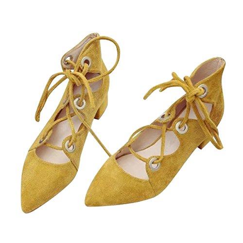 Strap Yellow Ankle Women Sandal Block Time Heel Dear Heel Pumps Chunky Gladiator nPCw0qnY