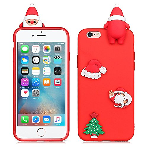 iPhone 6/6S PLUS 5.5 inch Case, 3D Cute Santa Claus Series Style Cartoon Soft Rubber Silicone Back Shell Cover Skin for Apple Iphone 6/6S PLUS 5.5