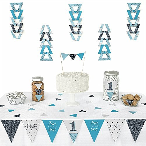 1st Birthday Boy - Fun to be One - Triangle Party Decoration Kit - 72 Pieces (First Birthday Party Supplies Boy compare prices)