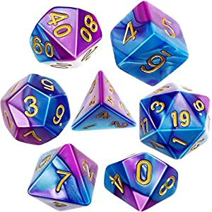 Polyhedral 7-Die Dice Set for Dungeons and Dragons with Black Pouch (Purple Blue)