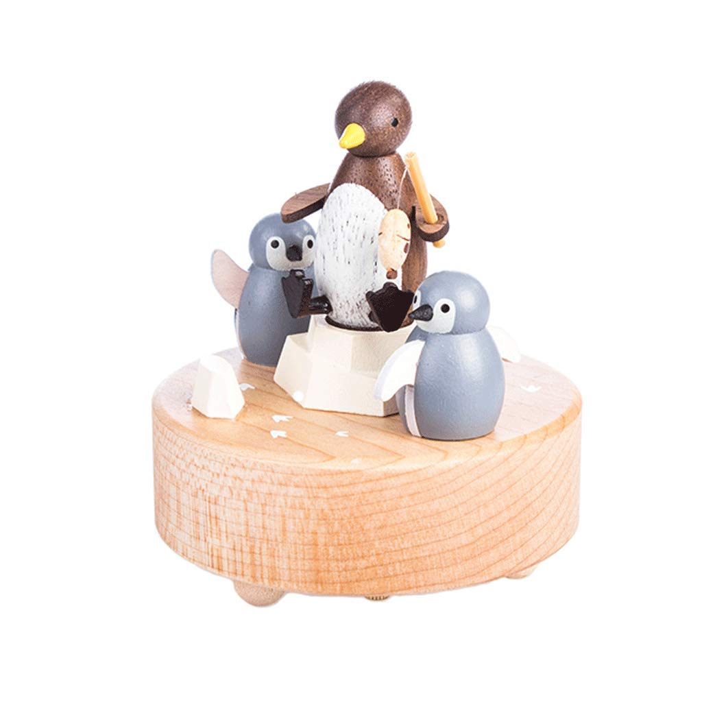 Music Box Penguin family music box Wooden handmade music box birthday present