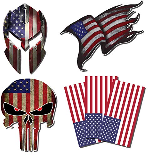 6 American Flag Punisher Skull Molon Labe Spartan Helmet Subdued USA 3M Vinyl Decal Sticker